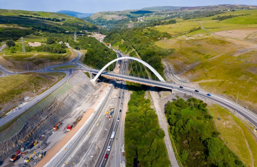 An ariel view of the A465 Heads of the Valleys Road.