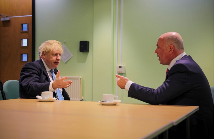 The Leader of the Opposiitn in the Welsh Parliament with Prime Minister Boris Johnson.