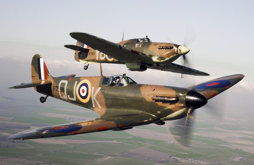 A Spitfire and a Hurricane.